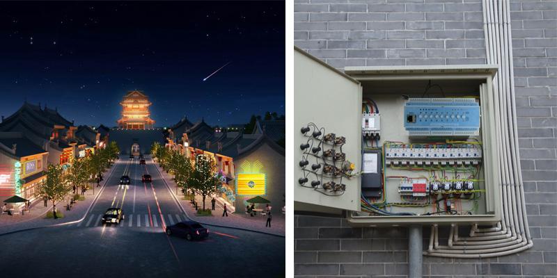 山西朔州古城景观亮化效果与照明配电柜